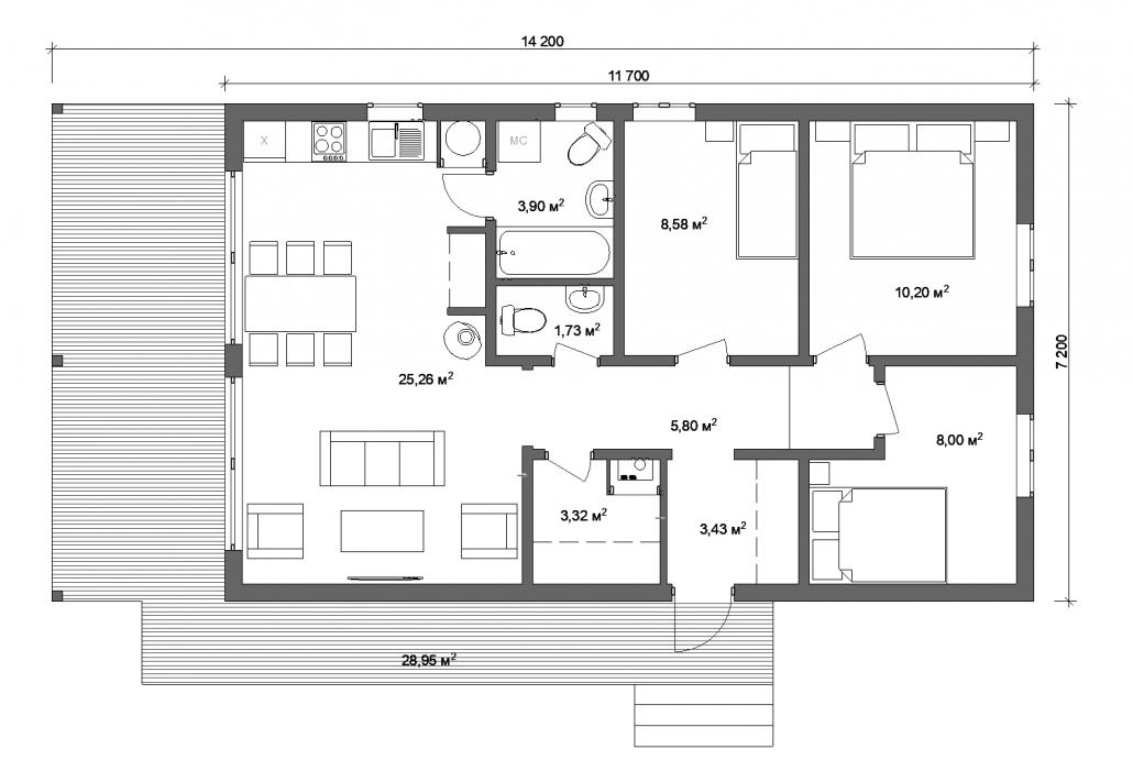 Планировка дома 70 м.кв.