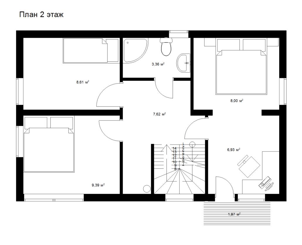 Каркасный дом 2 этаж