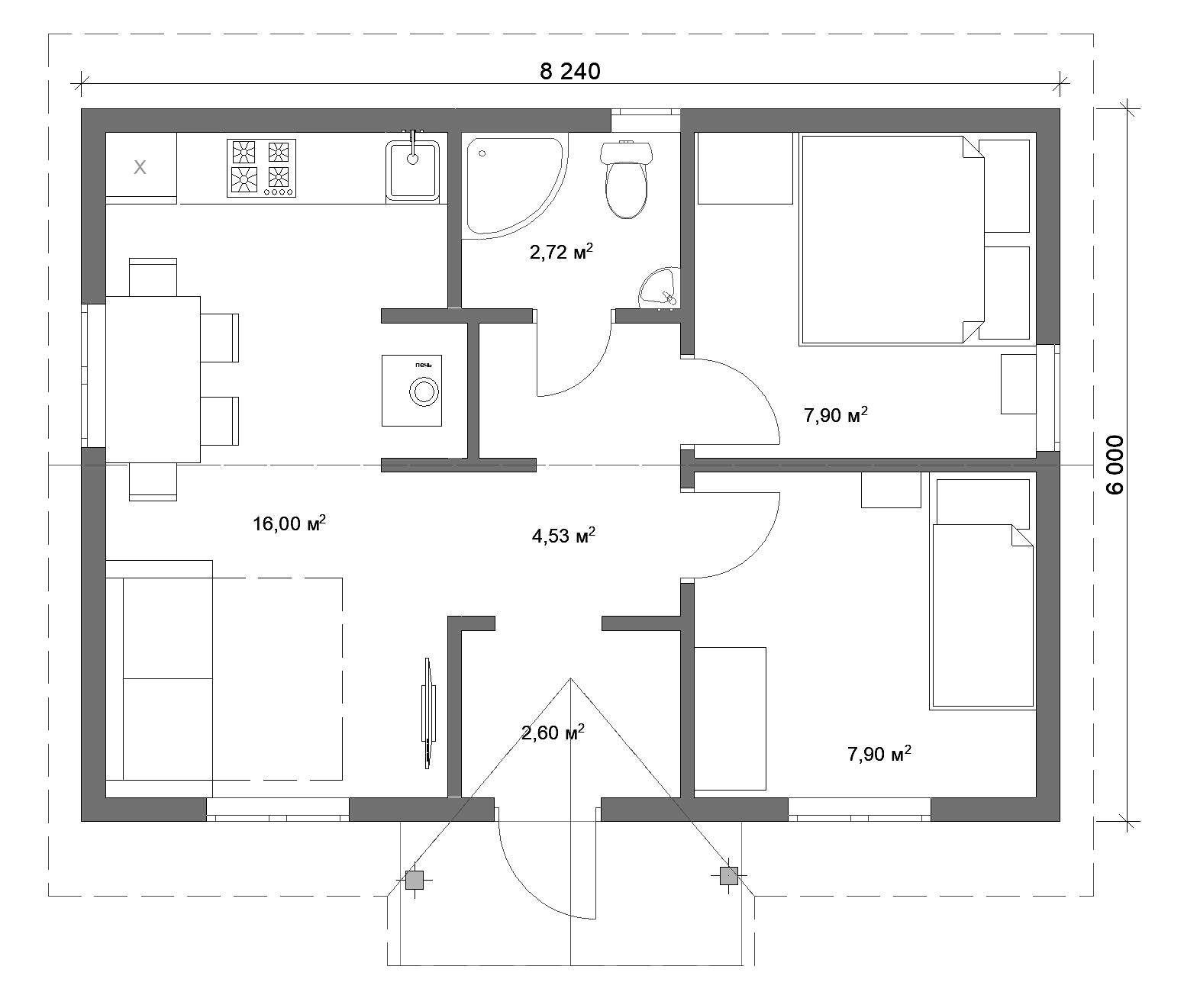 Проект одноэтажного загородного дома 6Х8