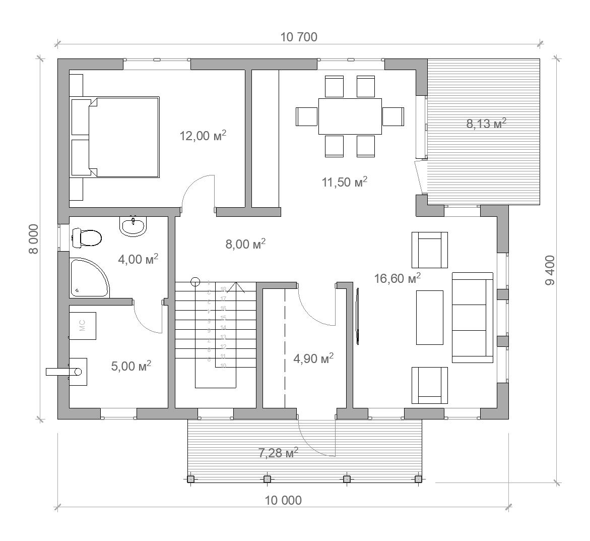 Каркасный дом планировка 1 этаж