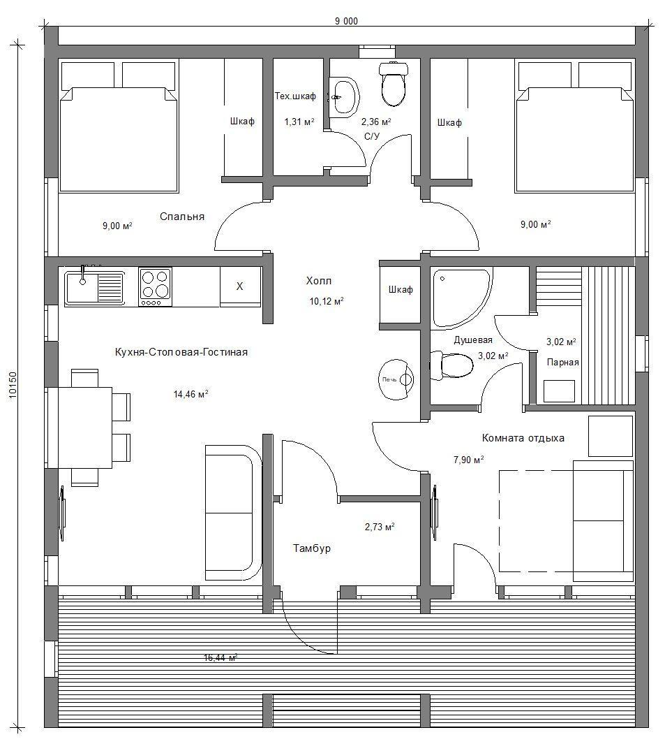 Планировка 1 этажного дома