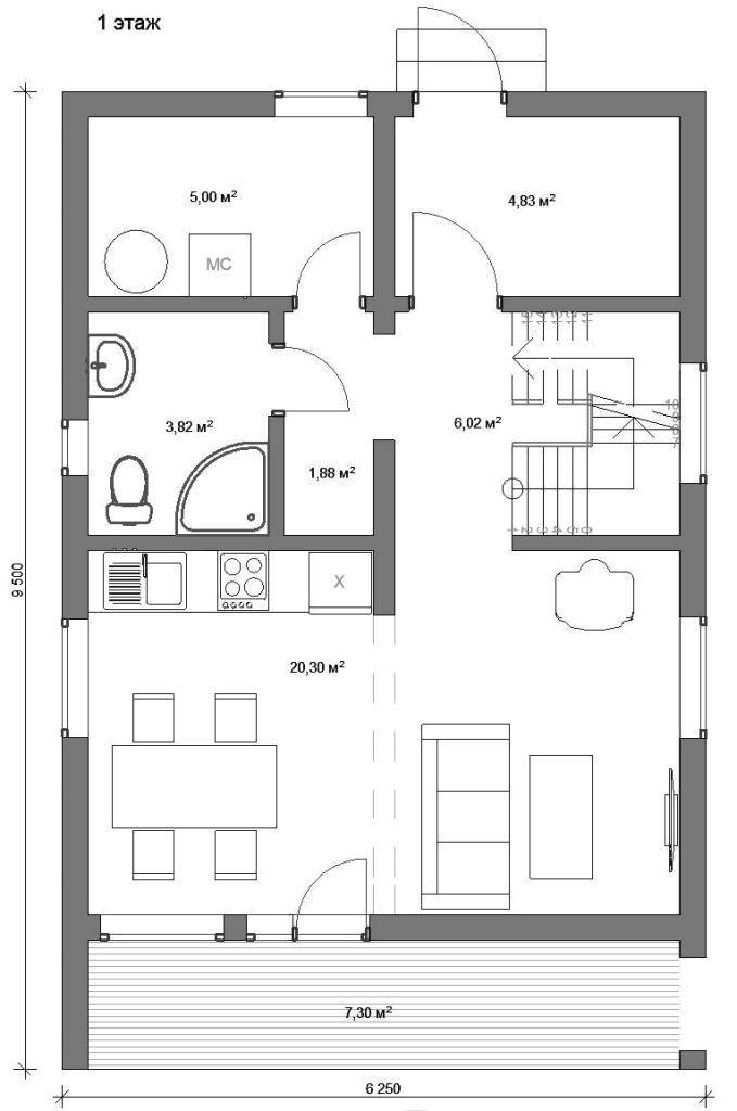 Проект двухэтажного дома 80