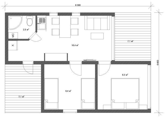 Модульный дачный дом - планировка