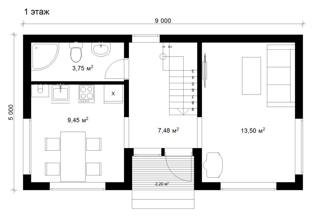 Каркасный дом 5х9
