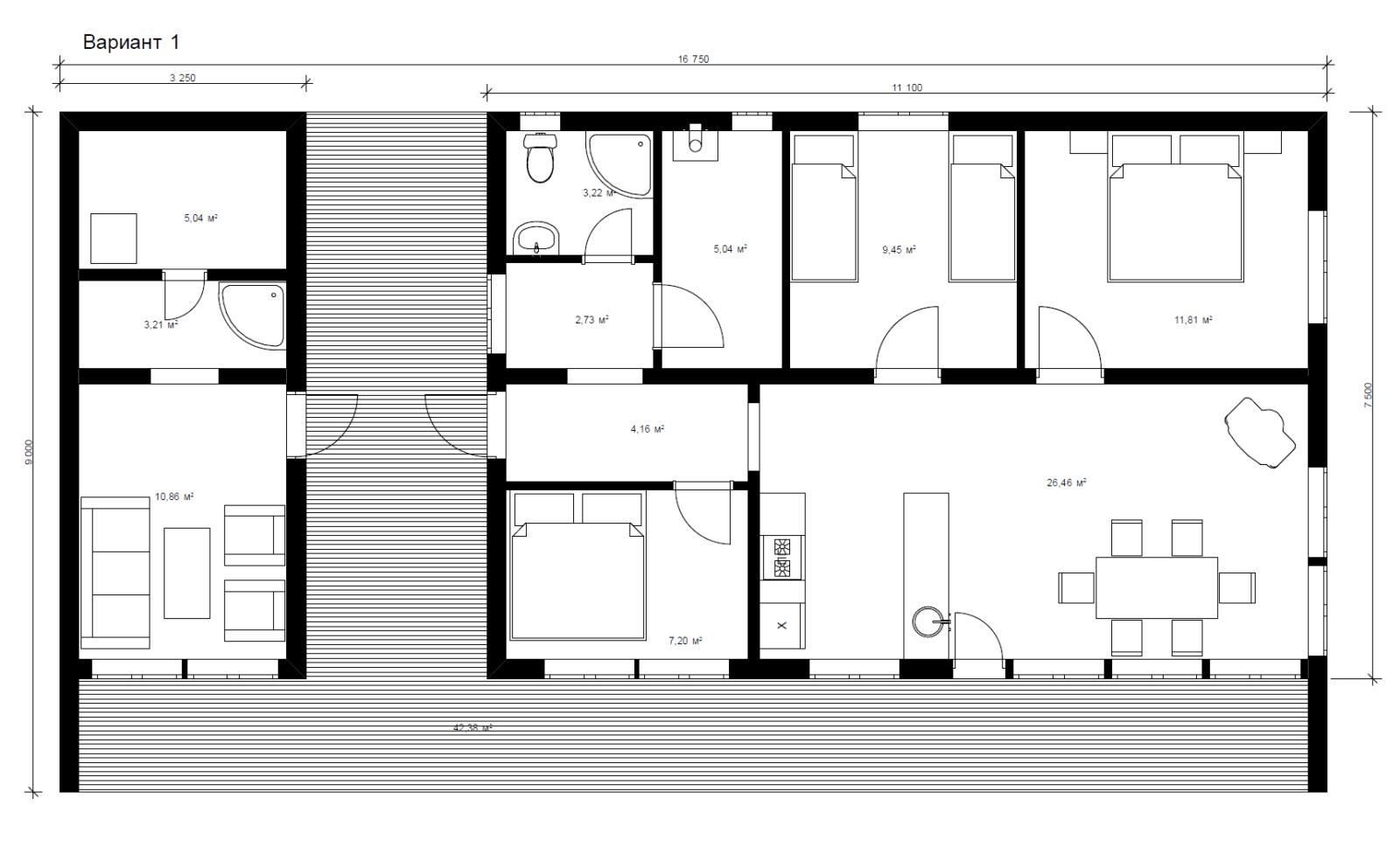 Проект каркасного дома для вытянутого участка