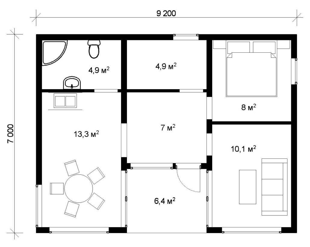 Одноэтажный каркасный дом СПб