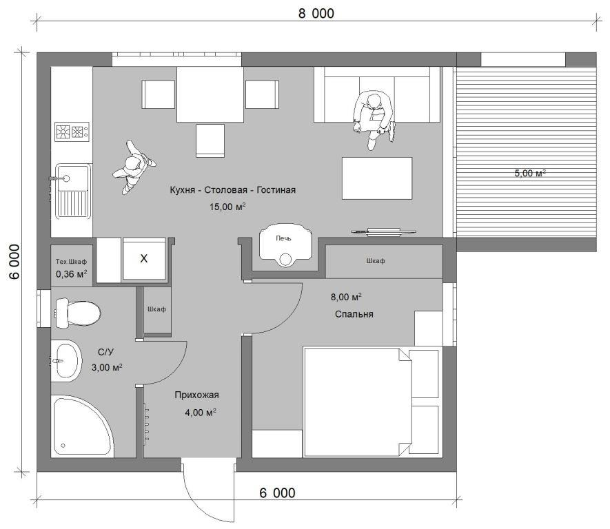 Проект дачного домика 37 м.кв