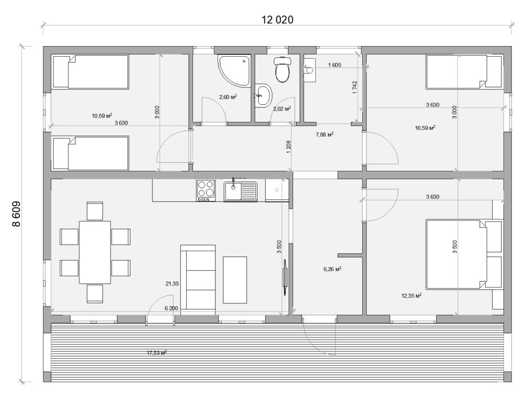 Планировка одноэтажного дома в СПб 2 вариант