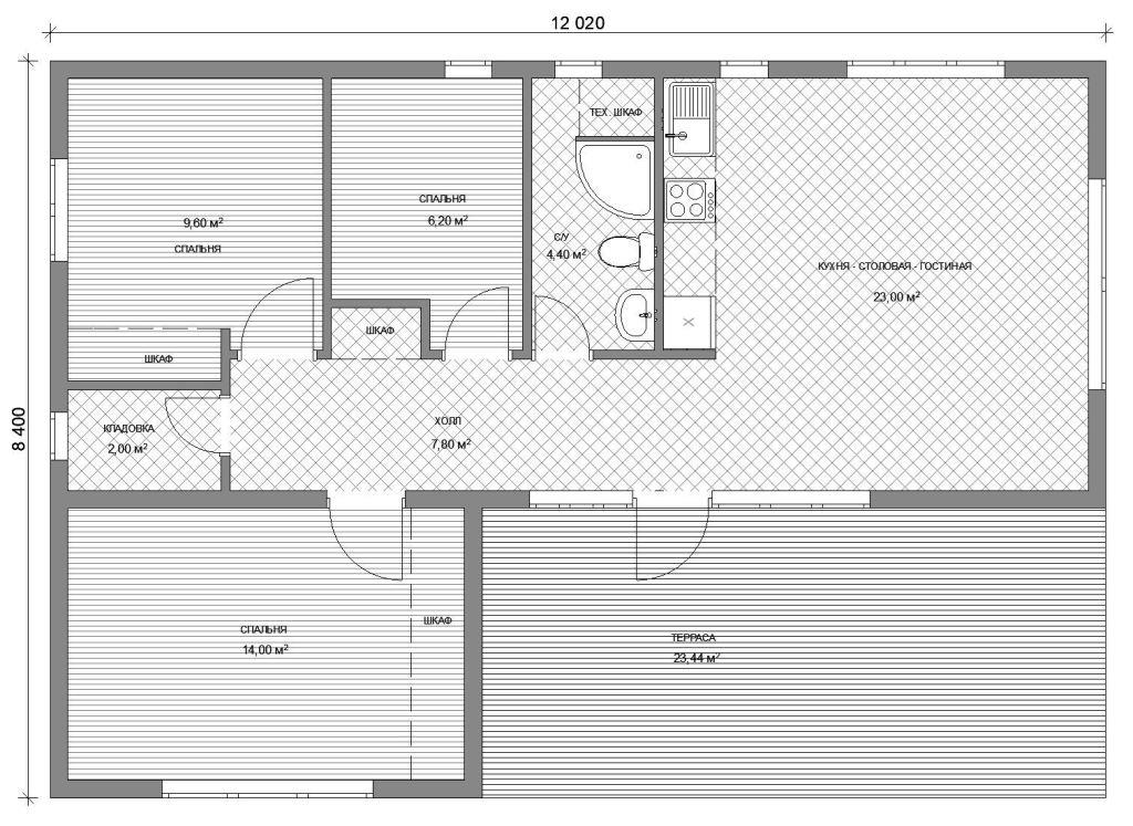 Проект одноэтажного дома до 2 млн