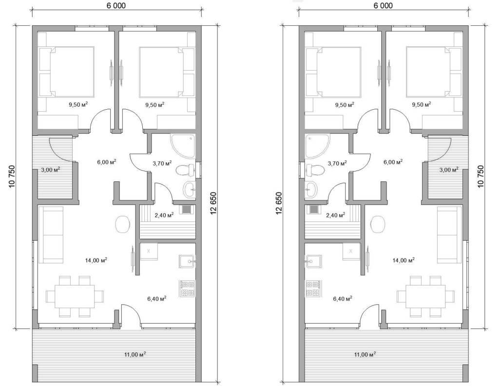 Проект одноэтажного дома Эко 60 м.кв
