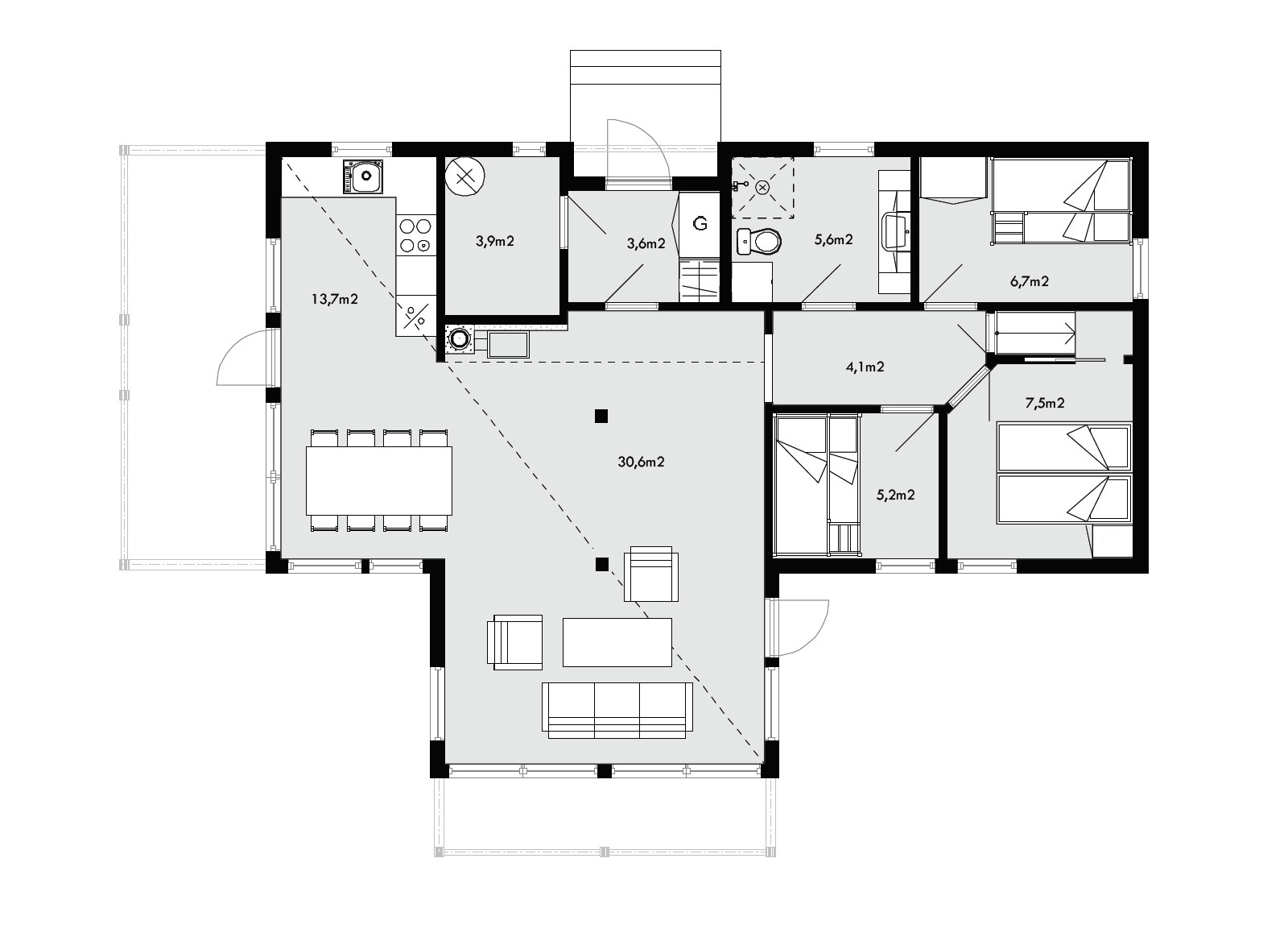 Планировка каркасного дома 1 этаж