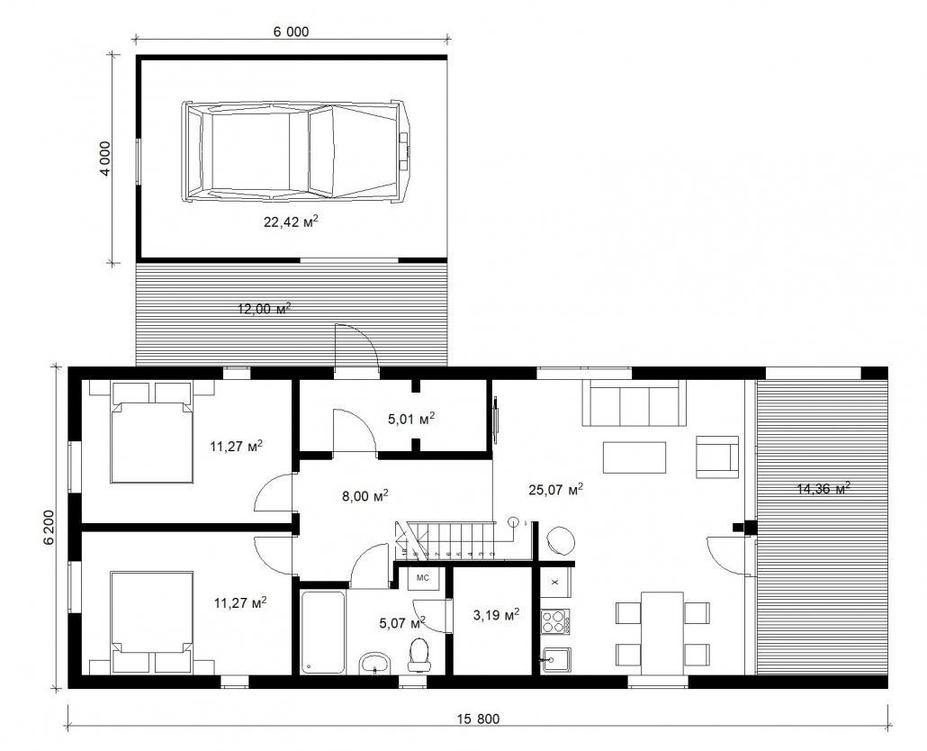 Барнхаус с гаражом 1 этаж