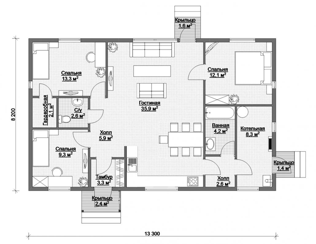 Вариант планировки дома 1 квадратных метров