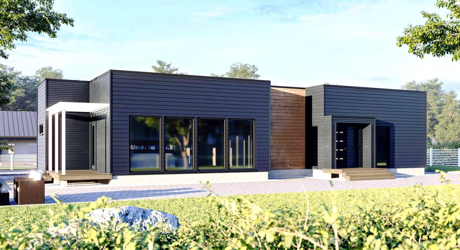 Одноэтажный современный дом с плоской крышей