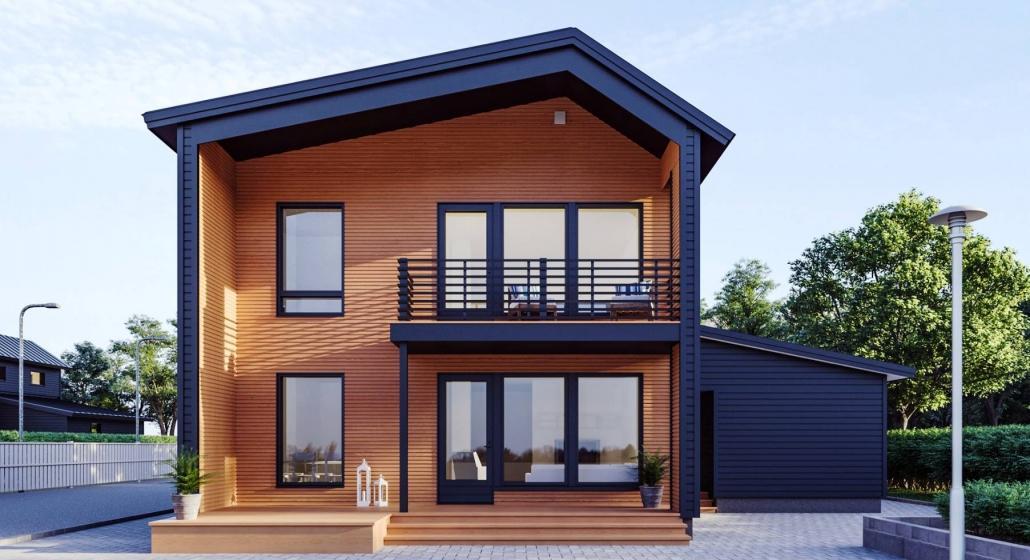 Двухэтажный каркасный дом проект