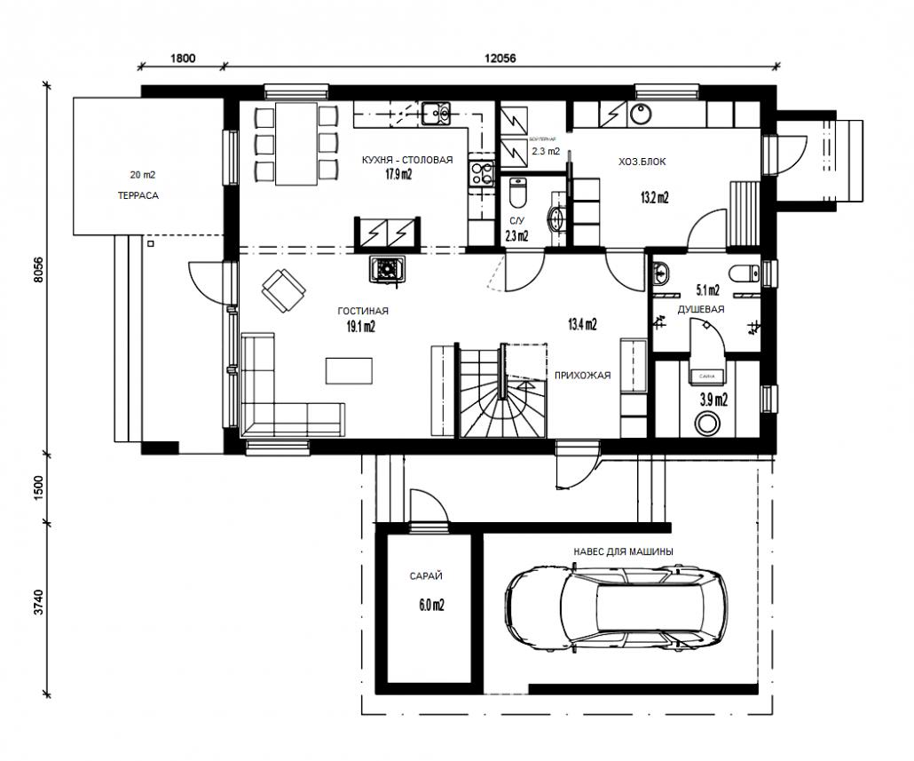 Проект дома 1 этаж