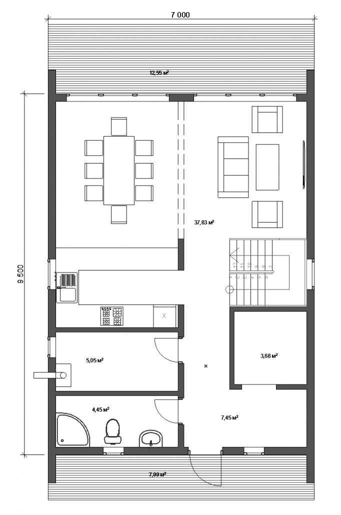 Планировка дом БАРН 1 этаж