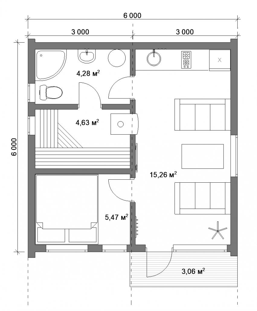 Барн баня 30 - 1С плантровка